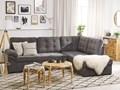 Narożnik lewostronny szay welurowy pikowany z funkcją spania sofa rozkładana ze schowkiem W kształcie L Kategoria Narożniki