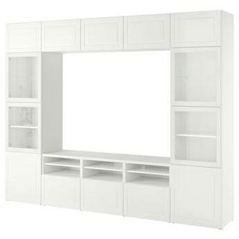 IKEA BESTÅ Kombinacja na TV/szklane drzwi, Biały Smeviken/Ostvik białe szkło przezroczyste, 300x42x231 cm