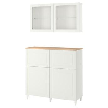 IKEA BESTÅ Kombinacja regałowa z drzw/szuf, Biały Smeviken/Ostvik/Kabbarp białe szkło przezroczyste, 120x42x240 cm