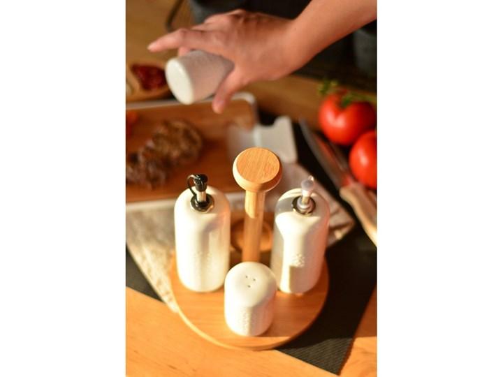 Komplet 2 butelek na olej, solniczki i pieprzniczki w stojaku Bambum Champion Pojemnik na ocet i oliwę Solniczka i pieprzniczka Drewno Zestaw do przypraw Ceramika Kolor Beżowy