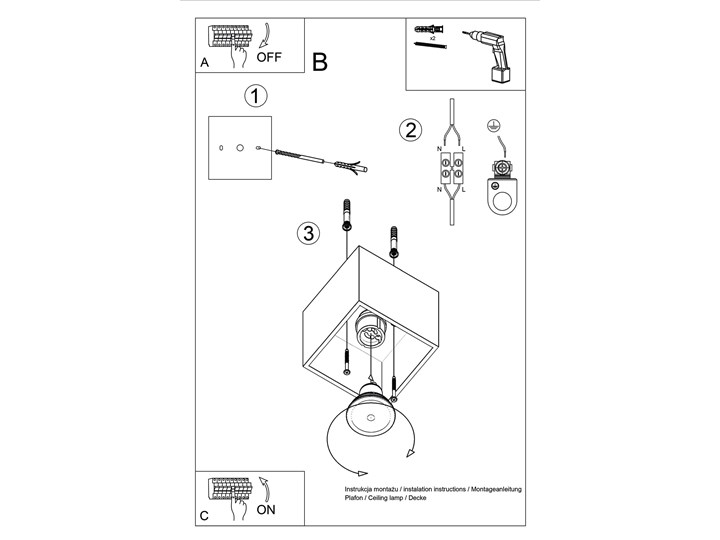 Sollux Lampa PLAFON QUAD 1 BETON Oprawa na Sufit Szary Kwadrat LEd Gu10 Oprawa stropowa Kwadratowe Oprawa halogenowa Oprawa led Kategoria Oprawy oświetleniowe
