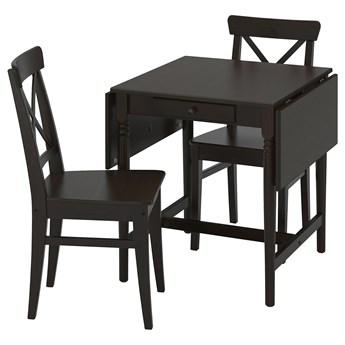 IKEA INGATORP / INGOLF Stół i 2 krzesła, czarnybrąz/brązowoczarny, Długość: 123 cm