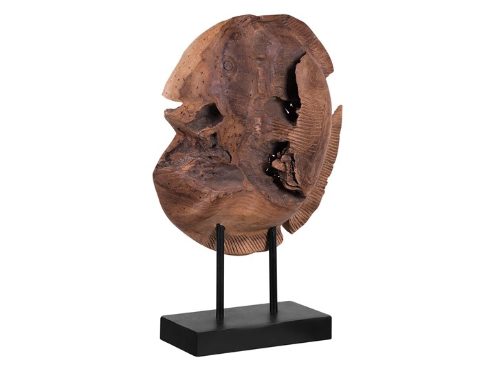 Figurka dekoracyjna ryba jasne drewno tekowe 41 x 31 cm styl rustykalny Zwierzęta Kategoria Figury i rzeźby Ryby Rośliny Kolor Brązowy