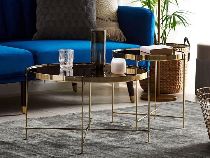 Stolik kawowy złotobrązowy blat z hartowanego szkła złote metalowe nogi okrągły glamour Wysokość 38 cm Kategoria Stoliki i ławy Szkło Kolor Złoty