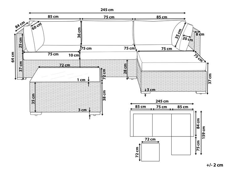 Zestaw mebli ogrodowych szary technorattan 4-osobowy narożnik szare poduchy stolik Zestawy modułowe Zestawy kawowe Zestawy wypoczynkowe Tworzywo sztuczne Styl Nowoczesny Aluminium Kategoria Zestawy mebli ogrodowych