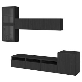 IKEA BESTÅ Kombinacja na TV/szklane drzwi, Czarnybrąz/Lappviken czarnobrązowe szkło przezroczyste, 300x42x211 cm