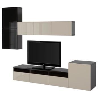 IKEA BESTÅ Kombinacja na TV/szklane drzwi, Czarnybrąz/Selsviken wysoki połysk/beż przydymione szkło, 300x42x211 cm