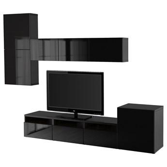 IKEA BESTÅ Kombinacja na TV/szklane drzwi, Czarnybrąz/Selsviken wysoki połysk/czarny dymione szkło, 300x42x211 cm