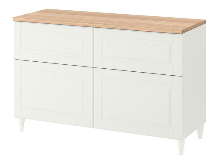 IKEA BESTÅ Kombinacja regałowa z drzw/szuf, Biały/Smeviken/Kabbarp biały, 120x42x76 cm