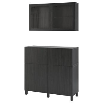 IKEA BESTÅ Kombinacja regałowa z drzw/szuf, Czarnybrąz/Lappviken/Stubbarp czarnobrązowe szkło przezroczyste, 120x42x213 cm