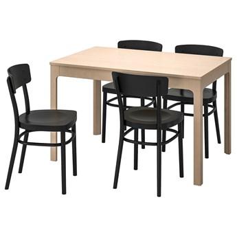 IKEA EKEDALEN / IDOLF Stół i 4 krzesła, brzoza/czarny, 120/180 cm