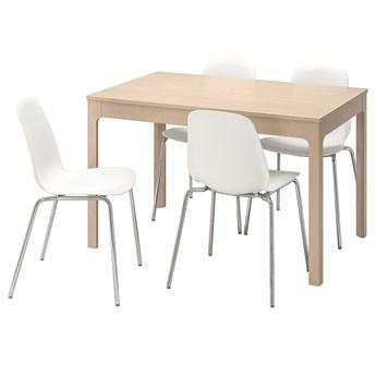 IKEA EKEDALEN / LEIFARNE Stół i 4 krzesła, brzoza/biały, 120/180 cm