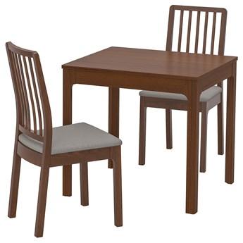 IKEA EKEDALEN / EKEDALEN Stół i 2 krzesła, brązowy/Orrsta jasnoszary, 80/120 cm