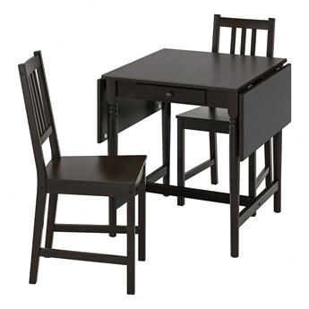 IKEA INGATORP / STEFAN Stół i 2 krzesła, czarnybrąz/brązowoczarny, 65/123x78 cm