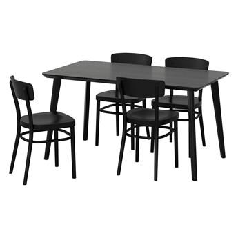 IKEA LISABO / IDOLF Stół i 4 krzesła, czarny/czarny, 140x78 cm