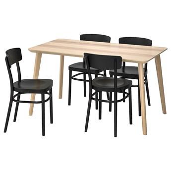 IKEA LISABO / IDOLF Stół i 4 krzesła, okleina jesionowa/czarny, 140x78 cm