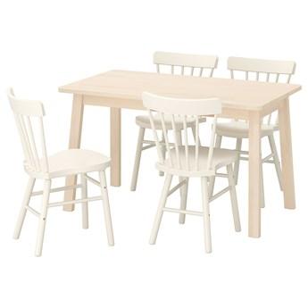 IKEA NORRÅKER / NORRARYD Stół i 4 krzesła, brzoza/biały, 125x74 cm