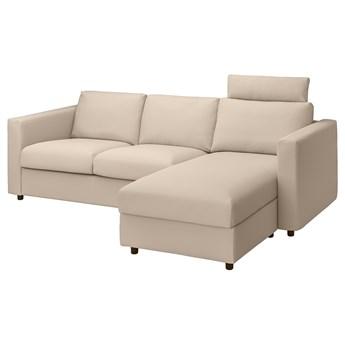 IKEA VIMLE Sofa 3-osobowa z szezlongiem, z zagłówkiem/Hallarp beżowy, Wysokość z zagłówkiem: 103 cm