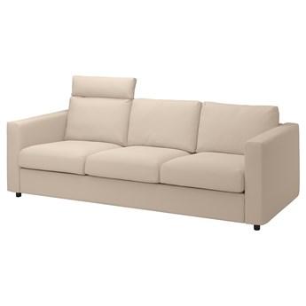 IKEA VIMLE Sofa 3-osobowa, z zagłówkiem/Hallarp beżowy, Wysokość z zagłówkiem: 103 cm