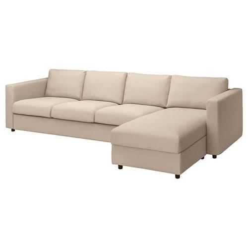 IKEA VIMLE Sofa 4-osobowa z szezlongiem, Hallarp beżowy, Wysokość z poduchami oparcia: 83 cm