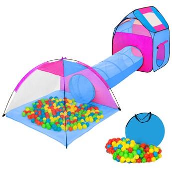 Namiot dla dzieci z tunelem, 200 piłek oraz torba - niebieski