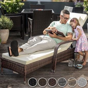 Leżak ogrodowy na kółkach, technorattan - szary