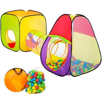 Namiot dla dzieci piramida z tunelem, 200 piłek oraz torba - kolorowy