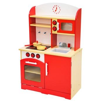 Drewniana kuchnia dla dzieci - czerwony