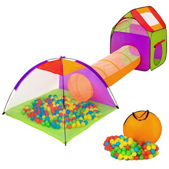 Namiot dla dzieci z tunelem, 200 piłek oraz torba - kolorowy