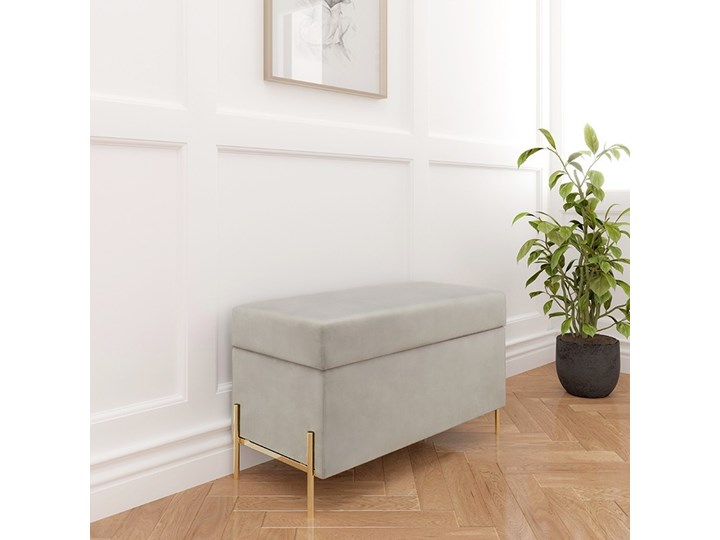 Jasnoszara tapicerowana ławka Dancan BORGO z pojemnikiem, na złotych metalowych nogach Pomieszczenie Salon Styl Nowoczesny