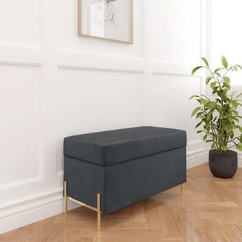 Szara tapicerowana ławka Dancan BORGO z pojemnikiem, na złotych metalowych nogach