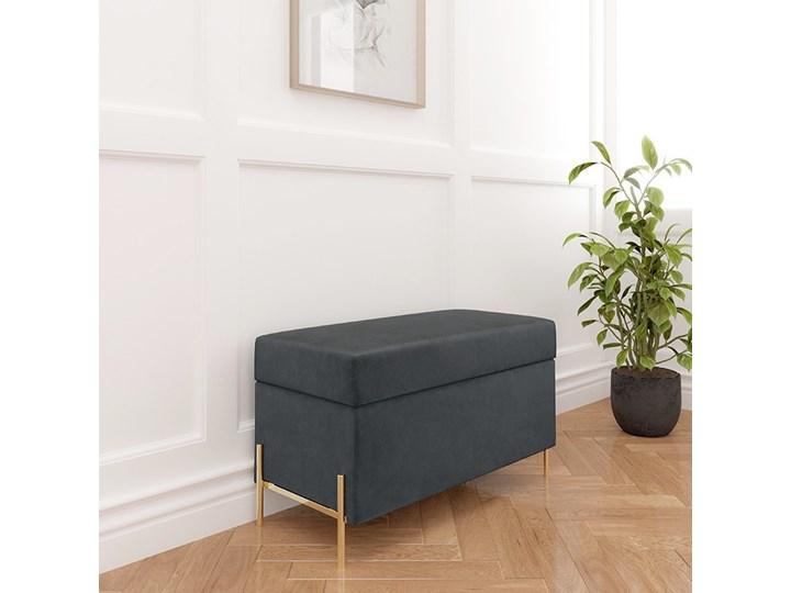 Szara tapicerowana ławka Dancan BORGO z pojemnikiem, na złotych metalowych nogach Materiał obicia Tkanina Pomieszczenie Sypialnia