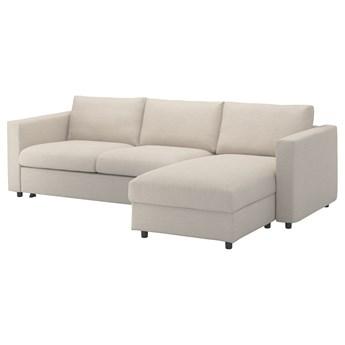 IKEA VIMLE Sofa 3-osobowa z szezlongiem, Gunnared beżowy, Wysokość łóżka: 53 cm