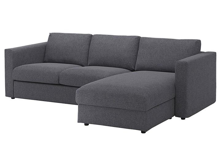 IKEA VIMLE Sofa 3-osobowa, z szezlongiem/Gunnared średnioszary, Wysokość z poduchami oparcia: 83 cm