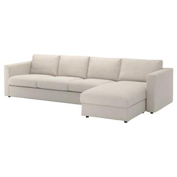 IKEA VIMLE Sofa 4-osobowa z szezlongiem, Gunnared beżowy, Wysokość z poduchami oparcia: 83 cm