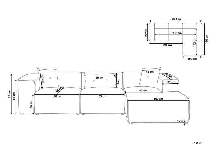 Narożnik lewostronny jasnoszary 3-osobowy 3 poduszki dekoracyjne styl nowoczesny Typ Gładkie Nóżki Bez nóżek