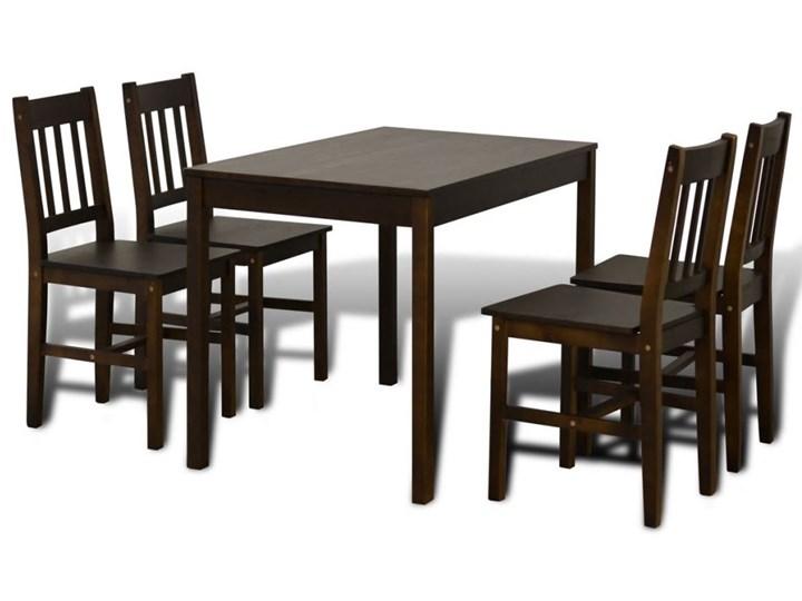 Ciemnobrązowy zestaw stół i 4 krzesła – Ellen Kategoria Stoły z krzesłami Kolor Czarny