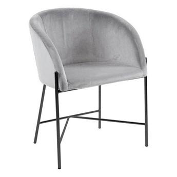 Szare krzesło welurowe do salonu - Amazon 2X