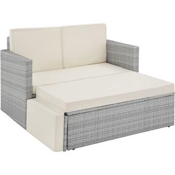 Meble ogrodowe, wypoczynkowe, sofa Korfu, technorattan, wariant 2 - jasnoszary