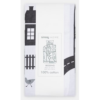 Sinsay - Komplet pościeli z bawełny 100x135 - Jasny szary