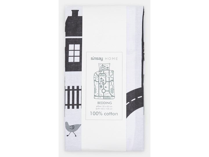 Sinsay - Komplet pościeli z bawełny 100x135 - Jasny szary Bawełna 100x135 cm Kolor Biały