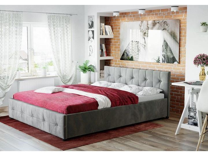 ŁÓŻKO Z MATERACEM TAPICEROWANE 160X200 1337 POPIEL WELUR Łóżko tapicerowane Rozmiar materaca 160x200 cm