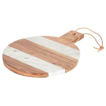 Deska do serwowania Tresa okrągła lite drewno mango i biały marmur