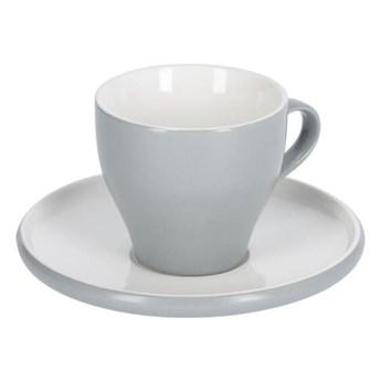 Filizanka do kawy i spodek Sadashi porcelanowy bialy i szary