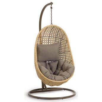 Fotel wiszacy Cira z noga w wykonczeniu naturalnym