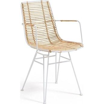Krzesło z podłokietnikami Ashanti 50x81 cm brązowo-białe