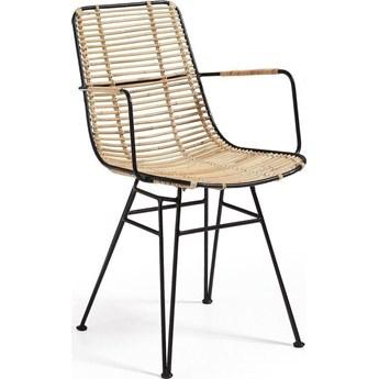 Krzesło z podłokietnikami Ashanti 50x81 cm brązowo-czarne
