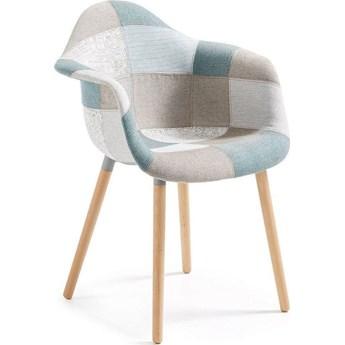 Krzeslo Kevya patchwork niebieski