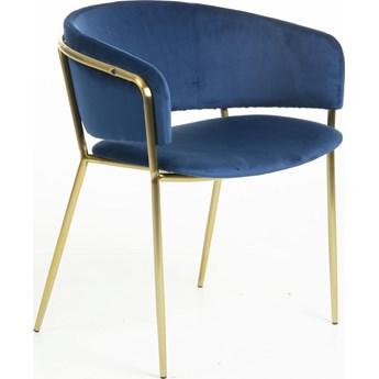 Krzesło Konnie 58x73 cm niebieskie nogi złote