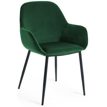 Krzesło Konna z zielonego aksamitu